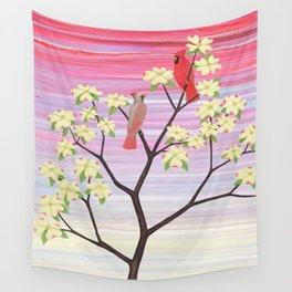cardinals and dogwood blossoms Wall Tapestry