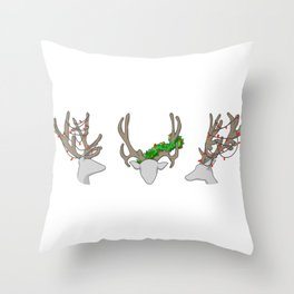 Christmas Reindeer Wreath Throw Pillow