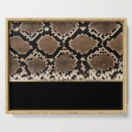 Modern black brown gold snake skin animal print Serving Tray