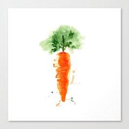Watercolor orange carrot. Organic vegetable. Original watercolour illustration. Canvas Print