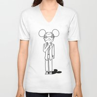 freud V-neck T-shirts featuring Freud x Mickey by RespectExistence