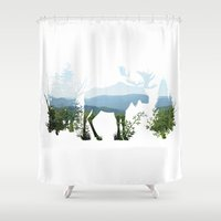 moose Shower Curtains featuring Moose by Corina Rivera Designs