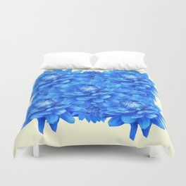 Decorative  Opulent Baby Blue Dahlia Flowers Art Work Design Duvet Cover