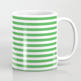 Even Horizontal Stripes, Green and White, S Coffee Mug