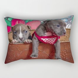 Cute Brother and Sister Pitbull Puppies with Blue Eyes Cuddling Together in a Spring Basket Rectangular Pillow