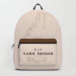1853 Map of Lake George (sepia) Backpack
