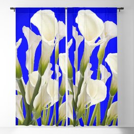 WHITE CALLA LILIES ON SHADED BLUE ART Blackout Curtain