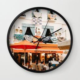 Orange terrace in old town Marbella, Spain | Travel and vacation photography | printable photo art Spain Wall Clock