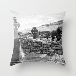 Halloween Graveyard | Horror | Black and White Cemetery | Gothic Graves | Throw Pillow