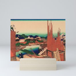 Lumberyard in Honjo Japan - Ukiyo-e Mini Art Print