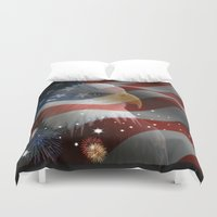 patriotic Duvet Covers featuring Patriotic America by Barrier Style & Design