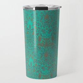 Modern Victorian Maximalist Pattern Art Decor In Vivid Blue Green Turquoise Travel Mug