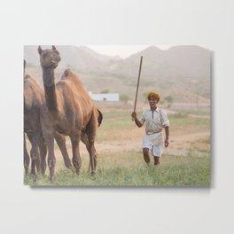 Nomad at the Pushkar camel fair   India travel photography Metal Print