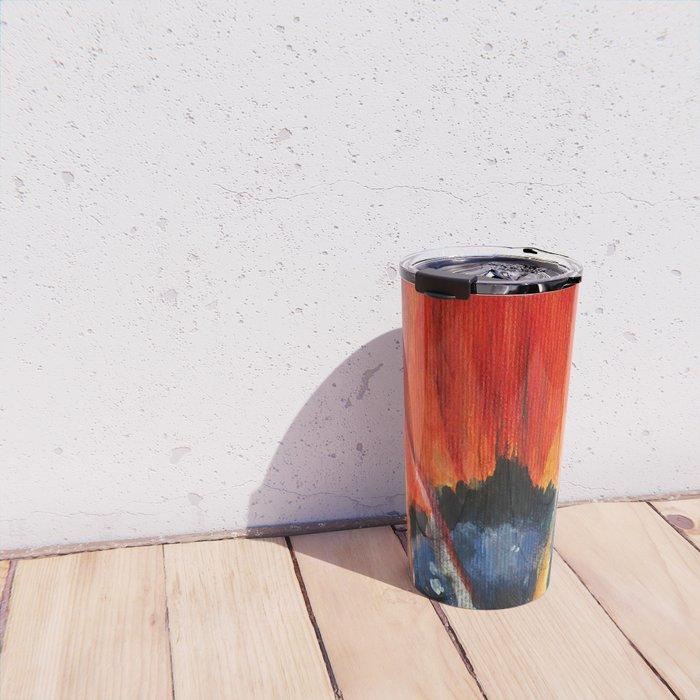 Orange Flower Painting Travel Mug
