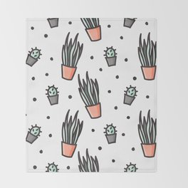 Sansevieria and cactus doodles Throw Blanket