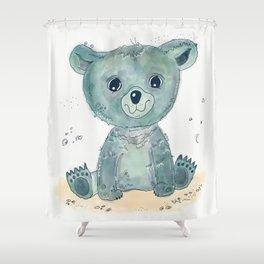 Little blue bear Shower Curtain