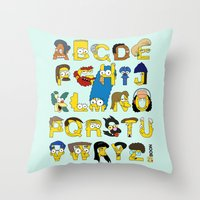 simpsons Throw Pillows featuring Simpsons Alphabet by Mike Boon