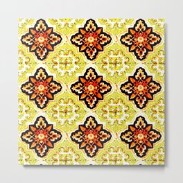 talavera mexican tile in yellow and orange Metal Print