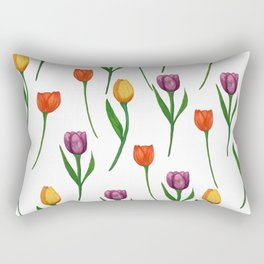 Watercolor Tulip Pattern Rectangular Pillow