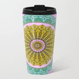 Lovely Healing Mandala  in Brilliant Colors: Pink, Green, Gray, Gold, and Wheat Metal Travel Mug