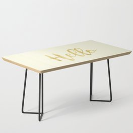 Hello in Golden Yellow on Cream Coffee Table