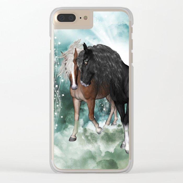 Wonderful couple horses Clear iPhone Case