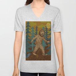 Bigfoot birthday card Unisex V-Neck
