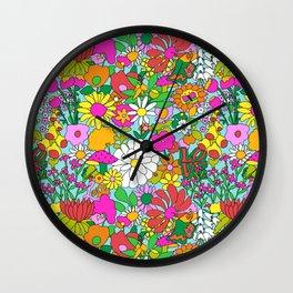 60's Groovy Garden in Blue Wall Clock