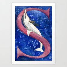 S is for Spinner Dolphin Art Print