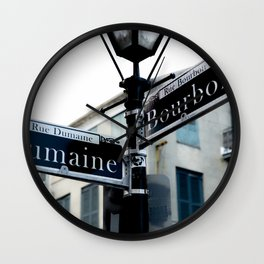 Dumaine and Bourbon - Street Sign in New Orleans French Quarter Wall Clock
