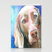 greg guillemin Stationery Cards featuring Greg The Weimaraner by bmeow