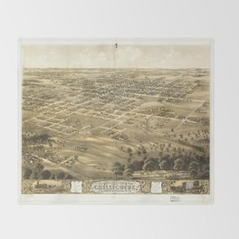 Bird's Eye View of Chillicothe, Missouri (1869) Throw Blanket