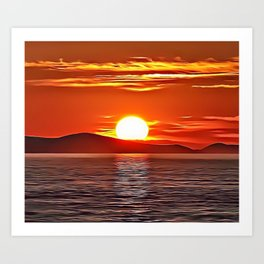 Orange Seascape Airbrush Artwork Art Print