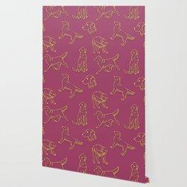 Golden Retriever Pattern (Berry Background) Wallpaper