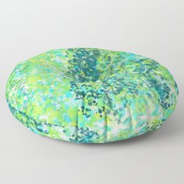 Lively Lime and Turquoise Paint Splatters Design Floor Pillow