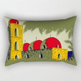Retro Palermo Sicily hotel travel ad Rectangular Pillow
