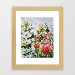 Edge of a tulip garden Framed Art Print