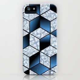 Abstract Blue Cubic Effect Design iPhone Case