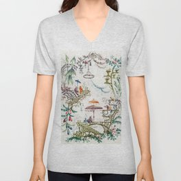 Enchanted Forest Chinoiserie Unisex V-Neck