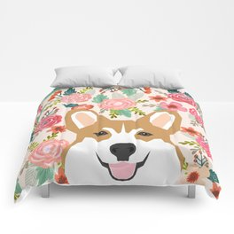 Welsh Corgi cute flowers spring summer garden dog portrait cute corgi puppy funny god illustrations Comforters