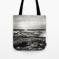 scotland Tote Bags featuring Cramond, Scotland by Mara Brioni Art Photography