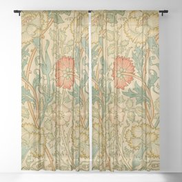 Pink and Rose by William Morris (1834-1896) Sheer Curtain