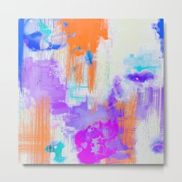 Abstract Painting with Stencil Metal Print