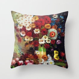 Red Poppies, Dahlias, Daises, Begonia, Parrot Tulips in Vase Tuscany Still Life by Vincent van Gogh Throw Pillow