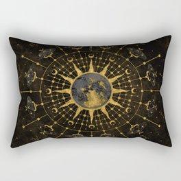 Steampunk Zodiac with Sun and Moon Rectangular Pillow