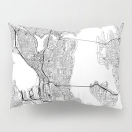Seattle White Map Pillow Sham