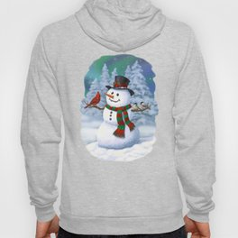 Cute Happy Christmas Snowman with Birds Hoody