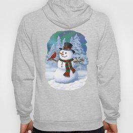 Cute Happy Christmas Snowman with Birds Hoody