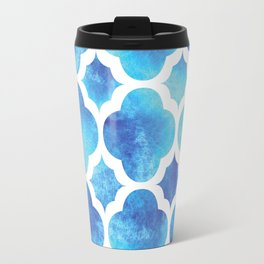Watercolor Moroccan Quatrefoil Clover Trellis in Turquoise Sea Travel Mug