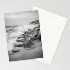 Rocks on the Sea Wall at Fort Fisher NC Sepia Black and White Stationery Cards